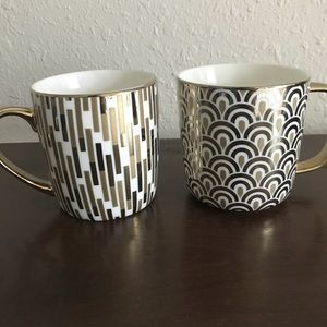 Other - 2 Gold Patterned Mugs